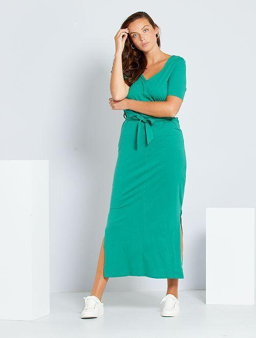 Robe longue en coton 'éco-conception'                                                                                                     vert pin