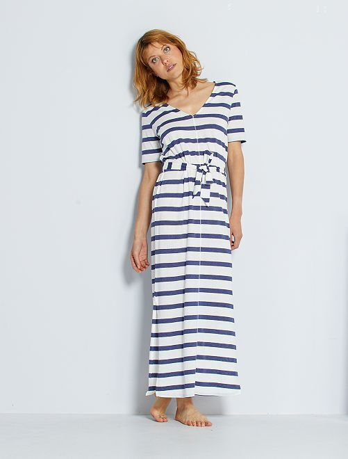 Robe longue en coton éco-conçue                                         blanc/bleu rayé
