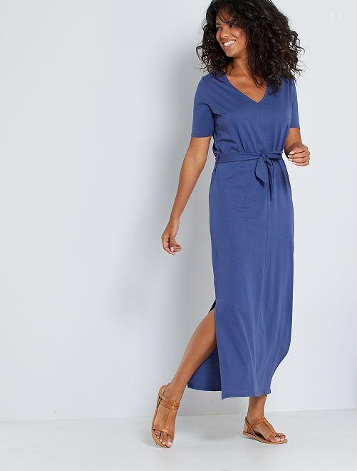 Robe longue en coton éco-conçue                                                                                                     bleu cobalt