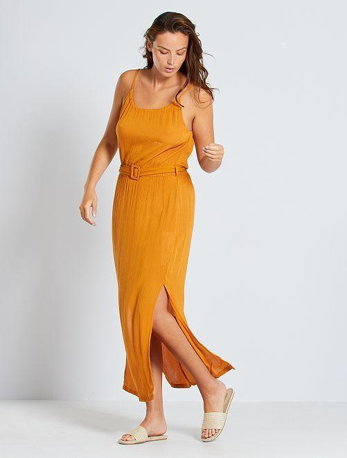 Robe longue en crêpe                             marron