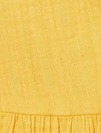 8ce61efb474 Robe longue en gaze de coton Femme - jaune - Kiabi - 20