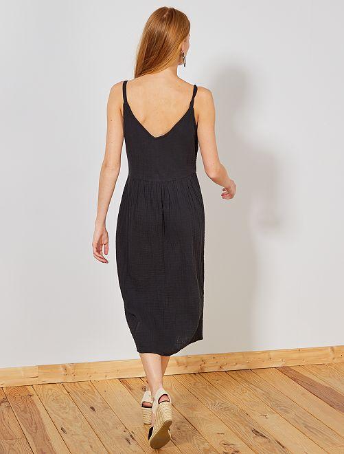 c12b5f984bb Robe longue en gaze de coton Femme - noir - Kiabi - 20
