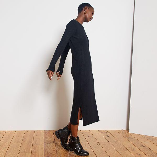 Robe Longue En Maille Cotelee Femme Noir Kiabi 12 00
