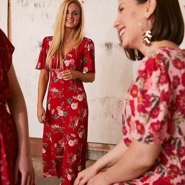 Robe Longue En Viscose Femme Rouge Kiabi 10 80