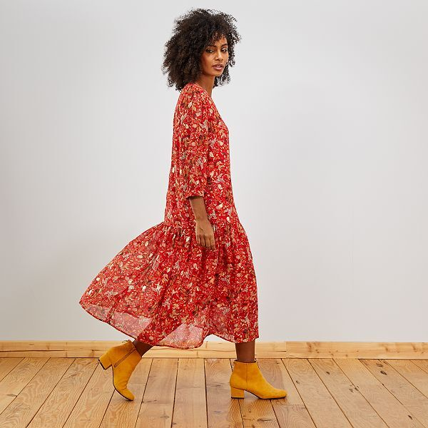 Robe Longue En Voile Femme Rouge Kiabi 25 00