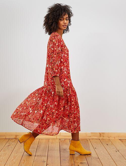 Robe longue en voile                             rouge