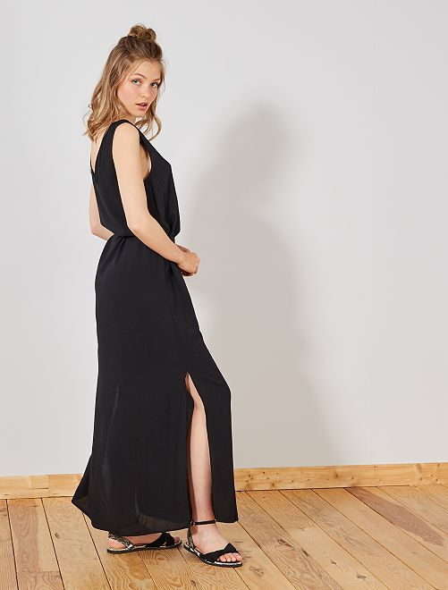Robe longue fendue 'JDY'                             noir