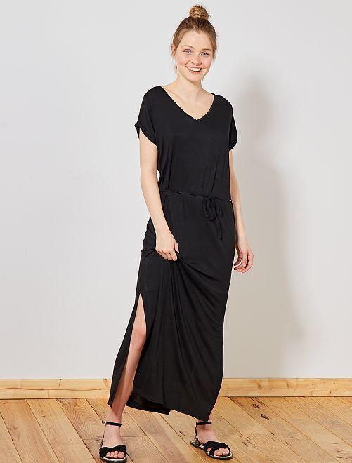 Robe longue fendue                                                                             noir Femme