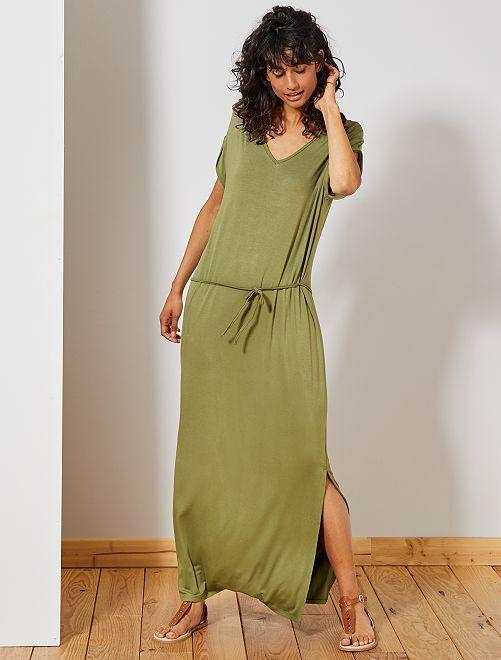 Robe longue fendue                                                                 vert lichen Femme