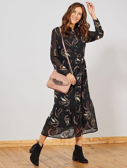Robe longue fleurie et en voile                             noir