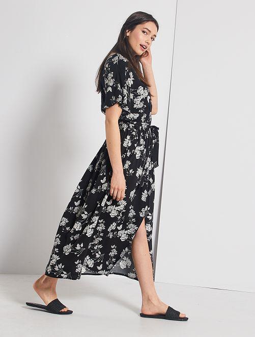 Robe longue fleurie                                         noir fleurs