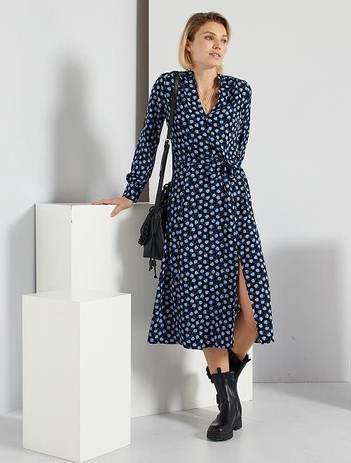 Robe longue fleurie                                         noir/bleu