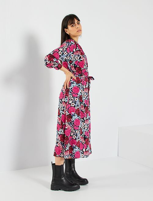 Robe longue fleurie                                         noir/rose