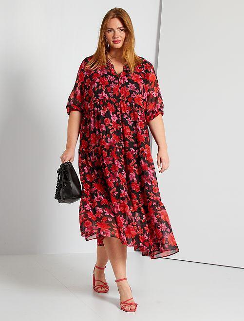 Robe longue fleurie                             noir/rouge