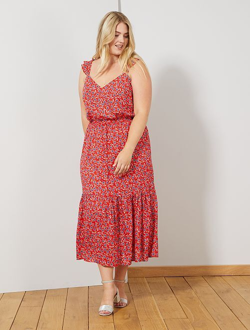 Robe longue fleurie                             rouge Grande taille femme