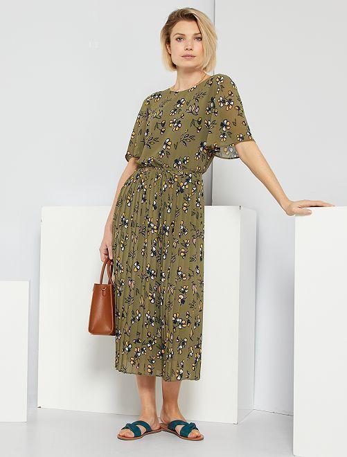 Robe longue 'fleurie'                                         vert