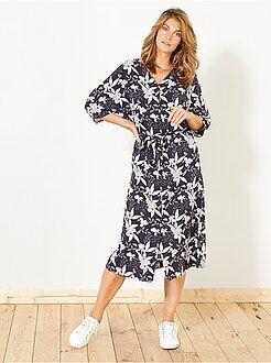 Robe taille 40 - Robe longue fluide à fleurs - Kiabi