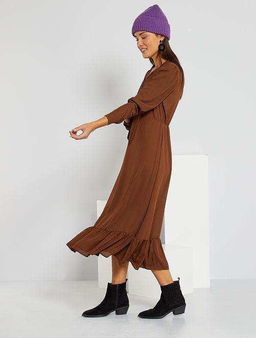 Robe longue fluide                             camel