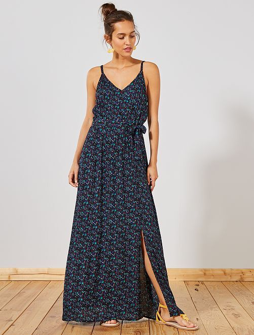 Robe longue fluide crêpée fines bretelles                     noir fleuri Femme