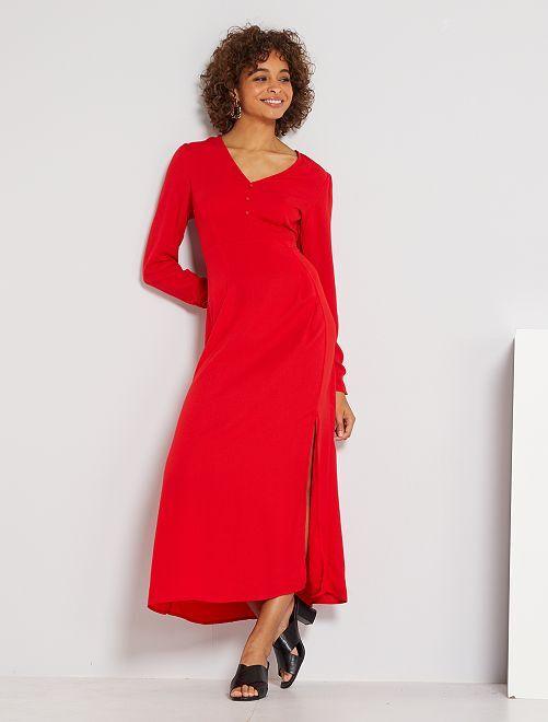 Robe longue fluide                             rouge