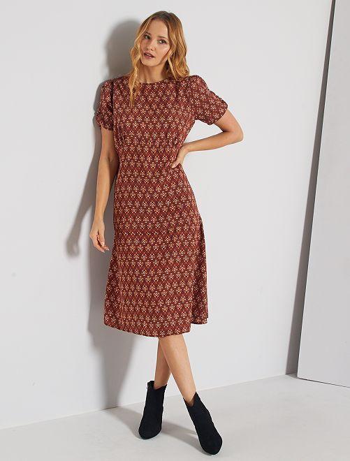 Robe longue imprimé vintage                             marron