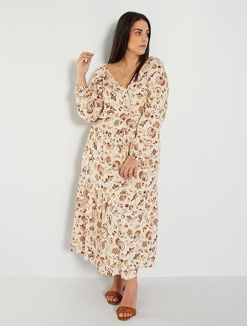 Robe longue imprimée                             beige