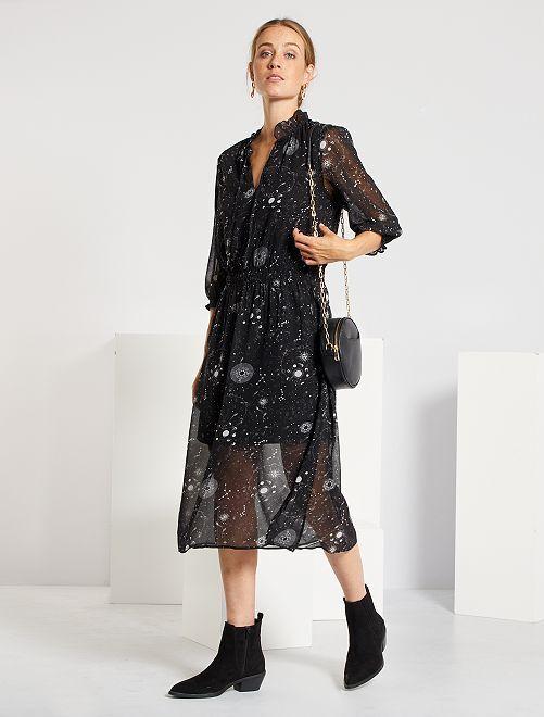 Robe longue imprimée 'étoiles'                             noir