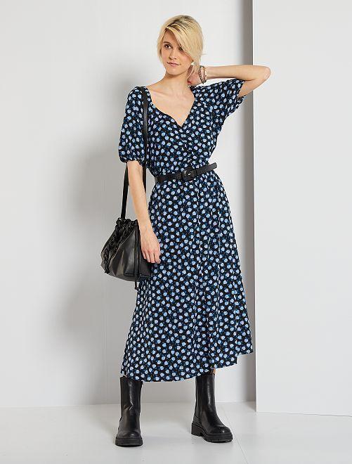 Robe longue imprimée 'fleurs'                                         noir/bleu