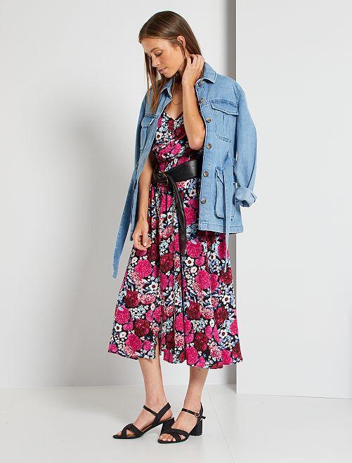Robe longue imprimée 'fleurs'                                         noir/rose