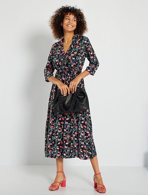 Robe longue imprimée 'JDY'                                                     noir/rose/bleu