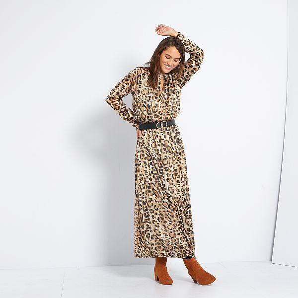 Robe Longue Imprimee Leopard Femme Beige Kiabi 25 00
