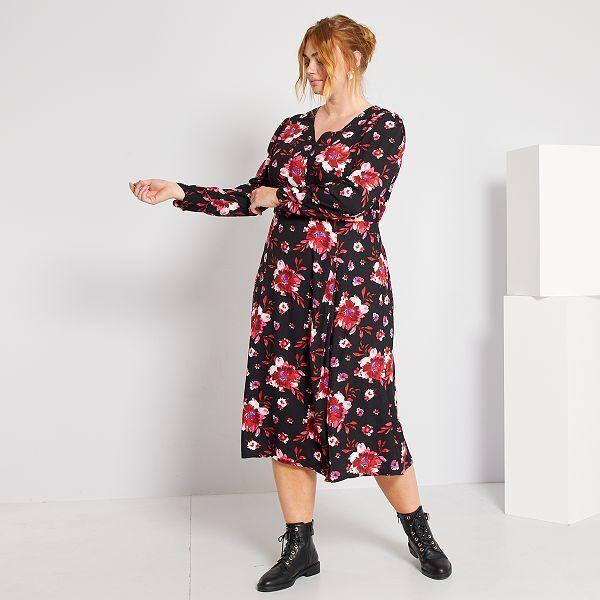 Robe Longue Imprimee Grande Taille Femme Noir Fleurs Kiabi 23 20