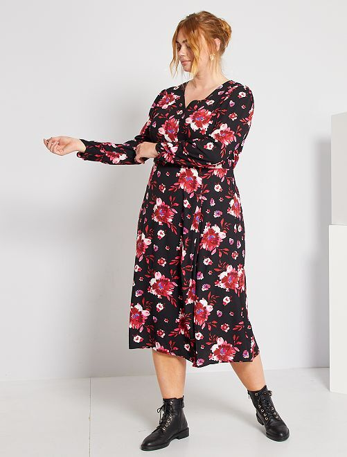Robe longue imprimée                             noir/fleurs