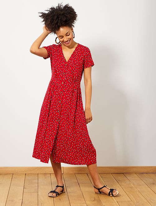 Robe longue imprimée                                         rouge pois Femme