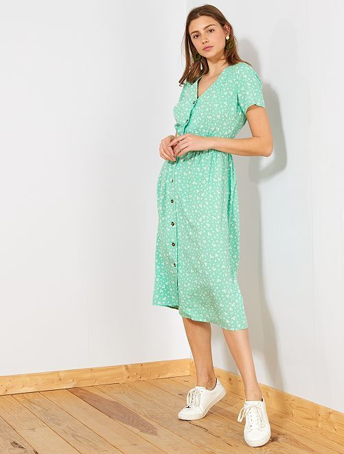 Robe longue imprimée                                             vert Femme