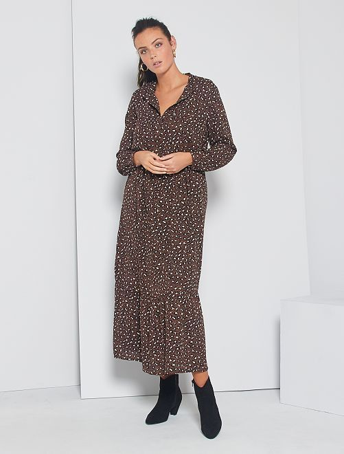 Robe longue 'JDY' à motifs léopard                             marron