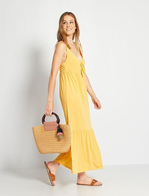 Robe longue nœud poitrine                                         jaune crème