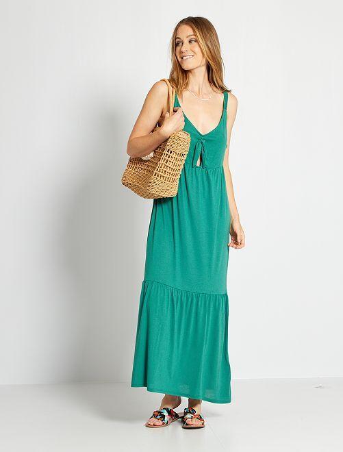 Robe longue nœud poitrine                                         vert pin