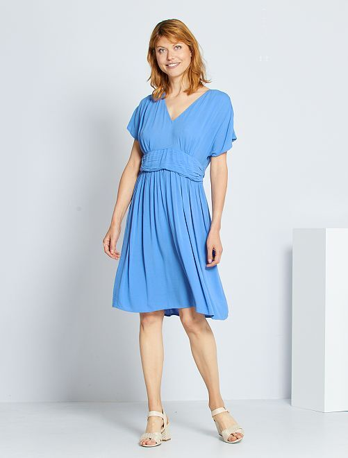 Robe longue plissée                                                                             bleu