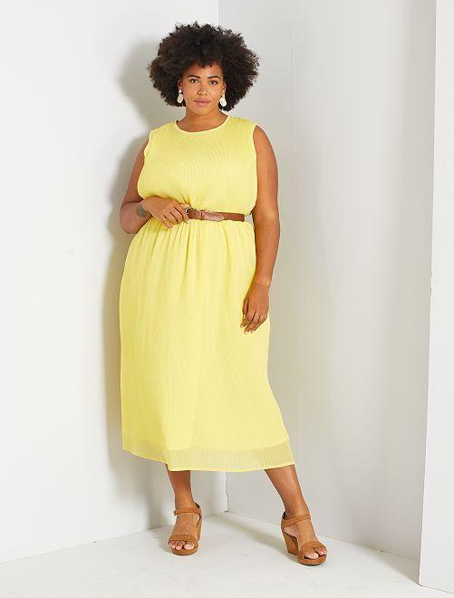 Robe longue plissée                                                     jaune