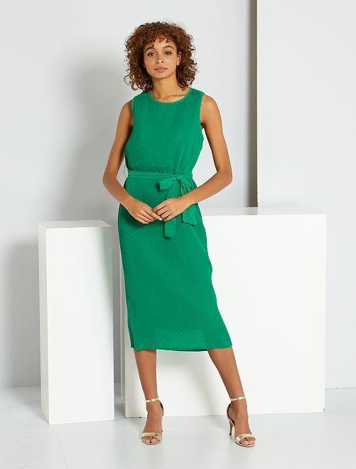 Robe longue plissée                                                     vert