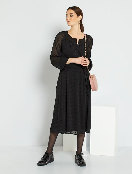 Robe longue plumetis                     noir