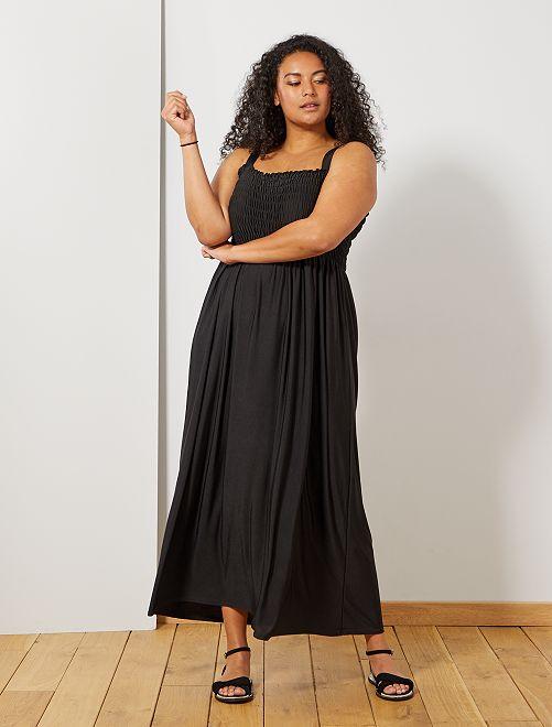 Robe longue poitrine smockée                             noir Grande taille femme