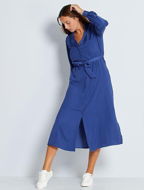 Robe longue satinée                                                                 bleu cobalt
