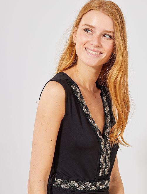 Robe longue stretch bijoux                                 noir