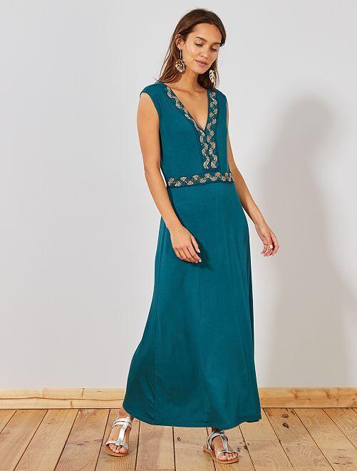 Robe longue stretch bijoux                                                                 vert Femme