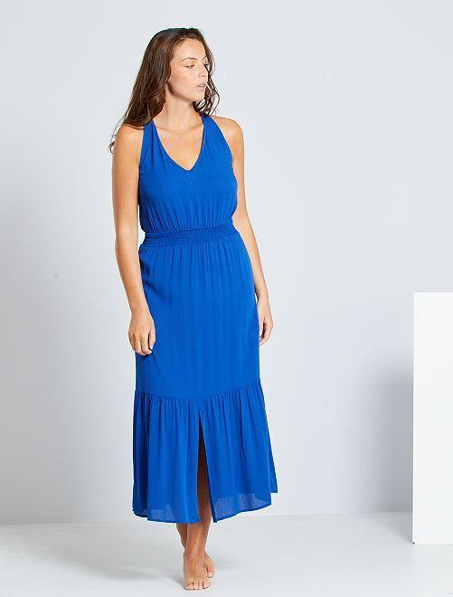 Robe longue taille smockée                                                     bleu