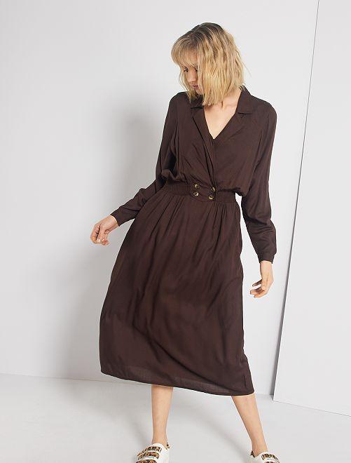 Robe longue taille smockée                                         marron café