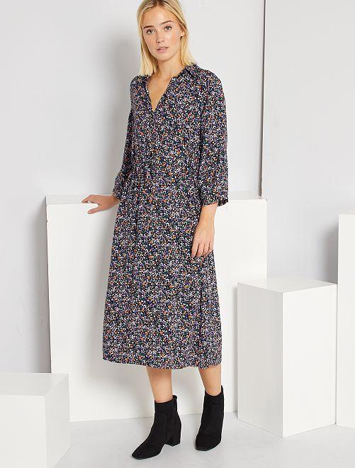 Robe longue type chemise                             violet
