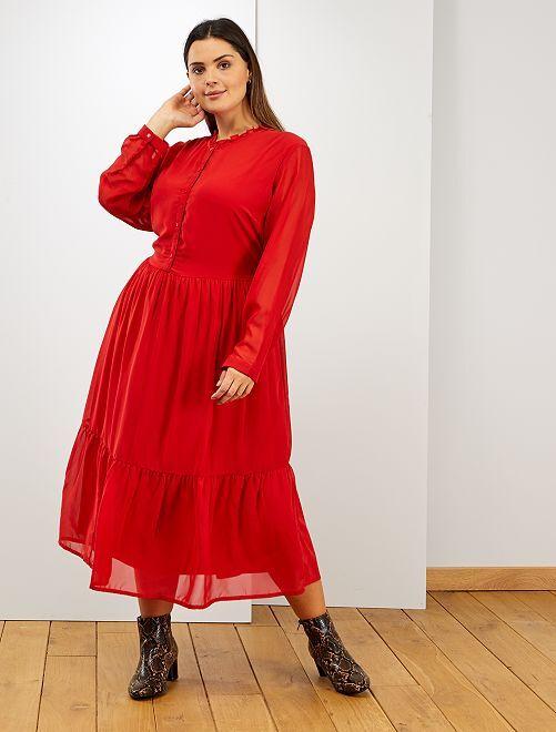 Robe longue voile et col volant                                         rouge